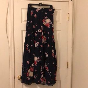 Navy blue and floral maxi skirt